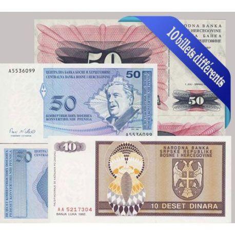 Bosnie - Collection de 10 billets de banque tous différents.