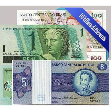 Bresil : Bel ensemble de 10 billets de banque de collection.
