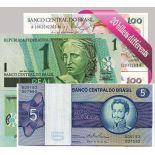 Belle collection de 20 billets de banque tous différents de Bresil