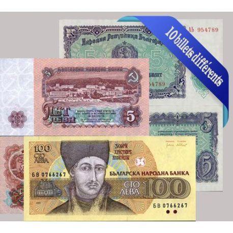 Bulgarie - Collection de 10 billets de banque tous différents.