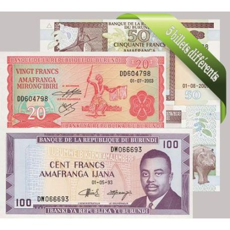 Burundi - Collection de 5 billets de banque tous différents.