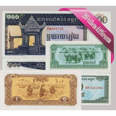 Belle collection de 20 billets de banque tous différents de Cambodge