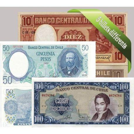 Chili - Collection de 5 billets de banque tous différents.