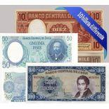 Bella collezione di 10 diverse banconote da tutto il Cile