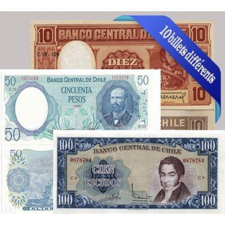 Belle collection de 10 billets de banque tous différents de Chili