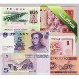 Chine : Bel ensemble de 5 billets de banque de collection.