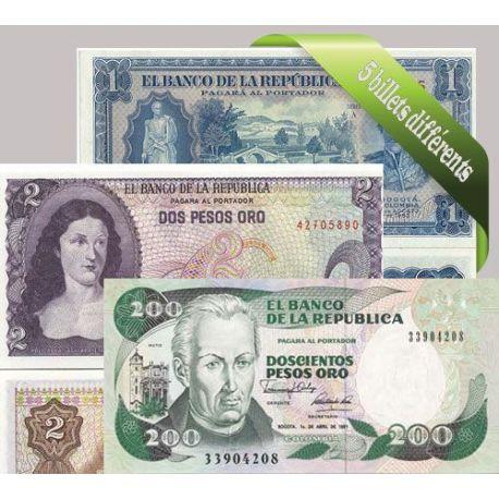 Colombie - Collection de 5 billets de banque tous différents.