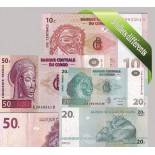 Congo: Beautiful set of 5 collection of bank notes.