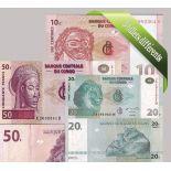 Kongo- Schoner Satz von 5 Sammlung von Banknoten