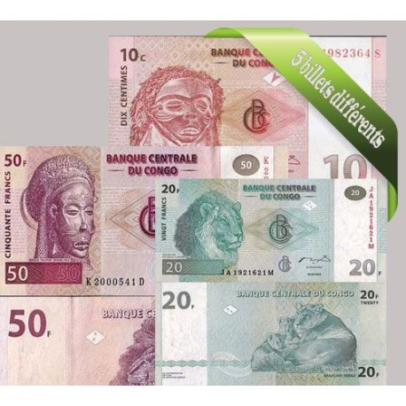 Congo : Bel ensemble de 5 billets de banque de collection.