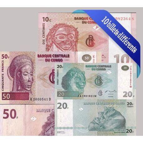 Billets de collection Belle collection de 10 billets de banque tous différents de Congo Billets du Congo 15,00 €