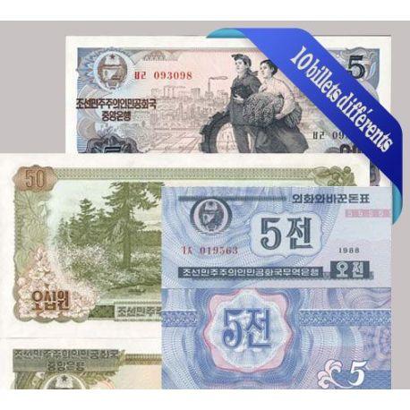 Belle collection de 10 billets de banque tous différents de Coree Nord