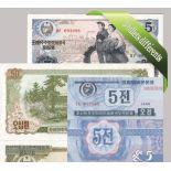 Corea del Norte: Hermoso conjunto de 5 colección de billetes de banco.