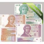 Croacia: Hermoso conjunto de 5 colección de billetes de banco.