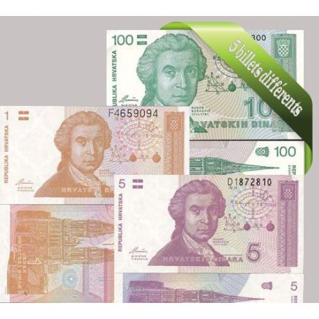 Croatie : Bel ensemble de 5 billets de banque de collection.