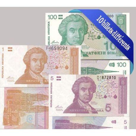 Croatie - Collection de 10 billets de banque tous différents.