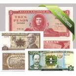 Cuba - Collection de 5 billets de banque tous différents.