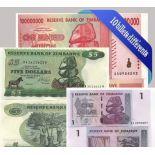 Bella collezione di 10 diversi tutte le banconote Zimbabwe