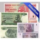 Schone Sammlung von 10 verschiedenen aller Banknoten Simbabwe