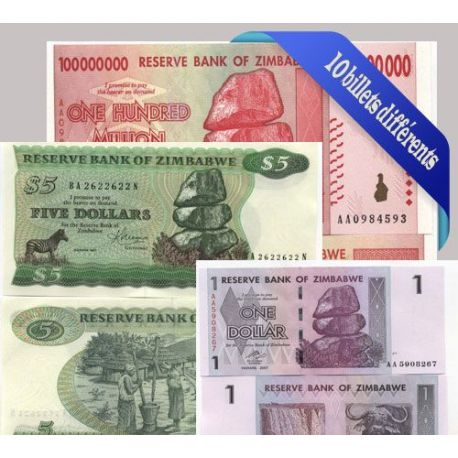 Belle collection de 10 billets de banque tous différents de Zimbabwe