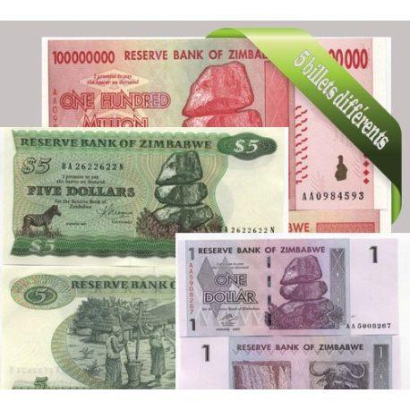 Zimbabwe - Collection de 5 billets de banque tous différents.