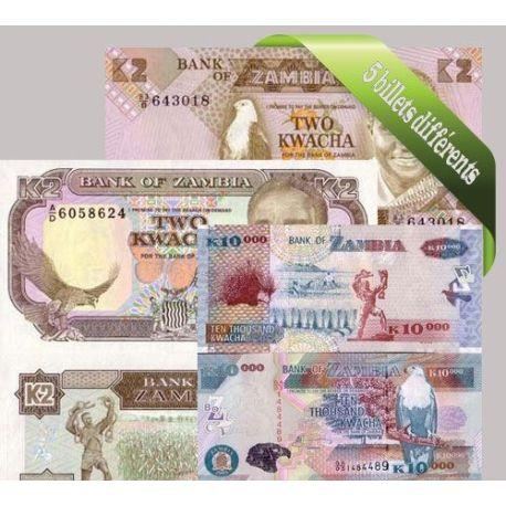 Zambie : Bel ensemble de 5 billets de banque de collection.
