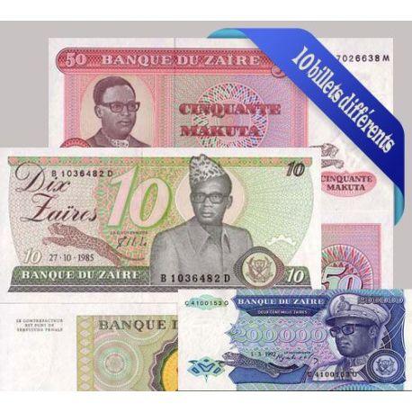 Zaire - Collection de 10 billets de banque tous différents.
