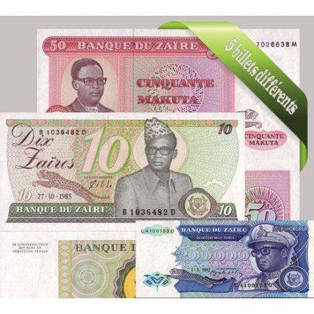 Zaire : Bel ensemble de 5 billets de banque de collection.