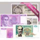 Bella collezione di 25 diversi tutte le banconote di Jugoslavia