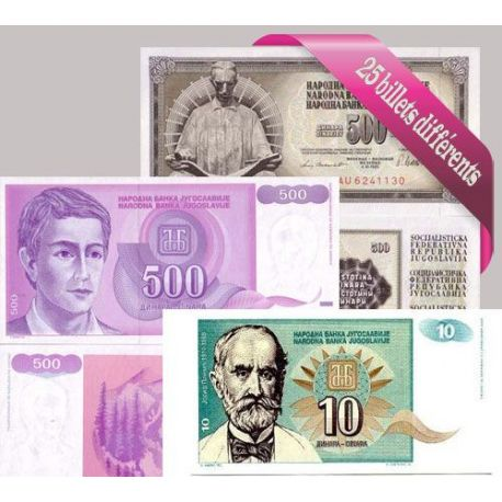 Billets de collection Belle collection de 25 billets de banque tous différents de Yougoslavie Billets de Yougoslavie 39,60 €