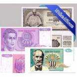 Yugoslavia - Colección de los 10 billetes diferentes.