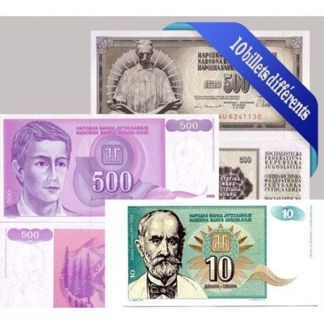 Billets de collection Yougoslavie - Collection de 10 billets de banque tous différents. Billets de Yougoslavie 11,00 €