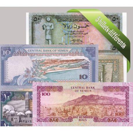 Billets de collection Yemen - Collection de 5 billets de banque tous différents. Billets du Yemen 14,00 €