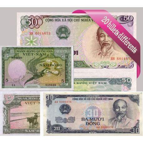 Belle collection de 20 billets de banque tous différents de Vietnam