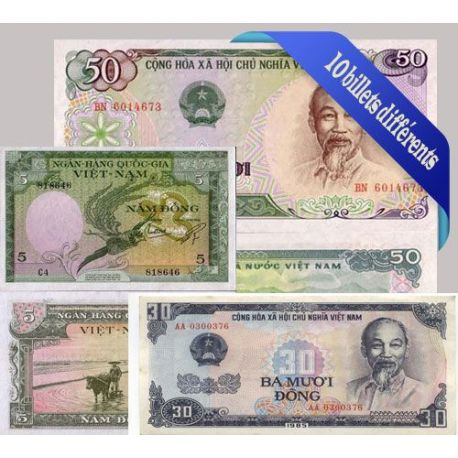 Vietnam - Collection de 10 billets de banque tous différents.