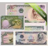 Vietnam : Bel ensemble de 5 billets de banque de collection.