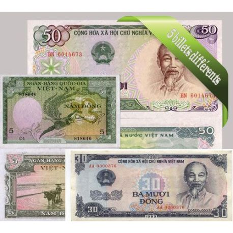 Billets de collection Vietnam : Bel ensemble de 5 billets de banque de collection. Billets du Vietnam Nord 5,00 €