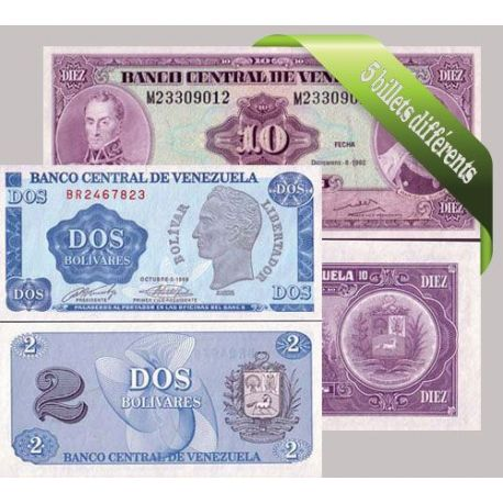 Venezuela : Bel ensemble de 5 billets de banque de collection.
