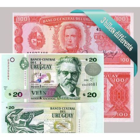 Uruguay : Bel ensemble de 3 billets de banque de collection.