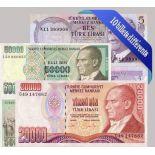 Hermosa colección de 10 diferentes todos los billetes de banco de Turquía