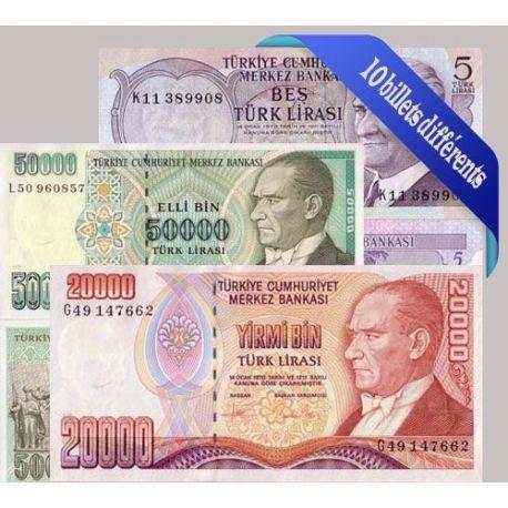Belle collection de 10 billets de banque tous différents de Turquie