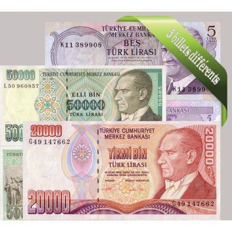 Turquie - Collection de 5 billets de banque tous différents.