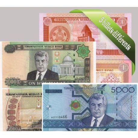 Turkmenistan - Collection de 5 billets de banque tous différents.