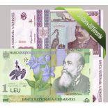 Romania - Raccolta di 5 diversi tutte le banconote