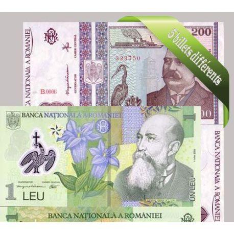 Roumanie - Collection de 5 billets de banque tous différents.