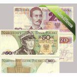 Pologne : Bel ensemble de 5 billets de banque de collection.