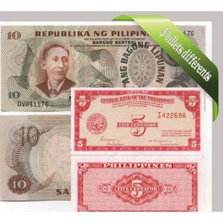 Philippines - Collection de 5 billets de banque tous différents.