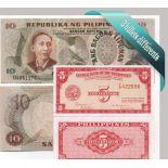 Philippines : Bel ensemble de 3 billets de banque de collection.