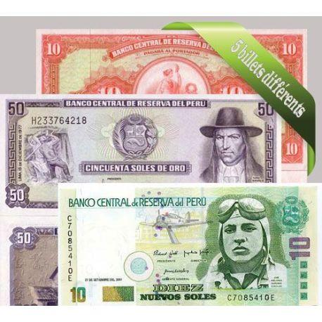 Perou : Bel ensemble de 5 billets de banque de collection.