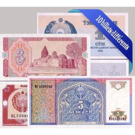 Billets de collection Belle collection de 10 billets de banque tous différents de Ouzbekistan Billets d'Ouzbekistan 17,00 €